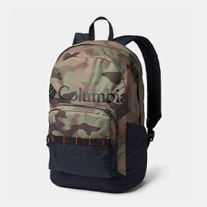 A blue backpack with a large Columbia logo and patterned panel.