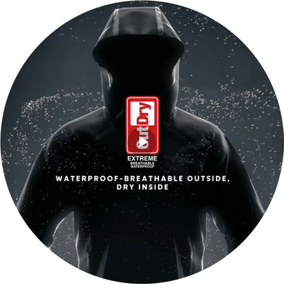 OutDry Extreme logo. Waterproof-breathable outside, dry inside.