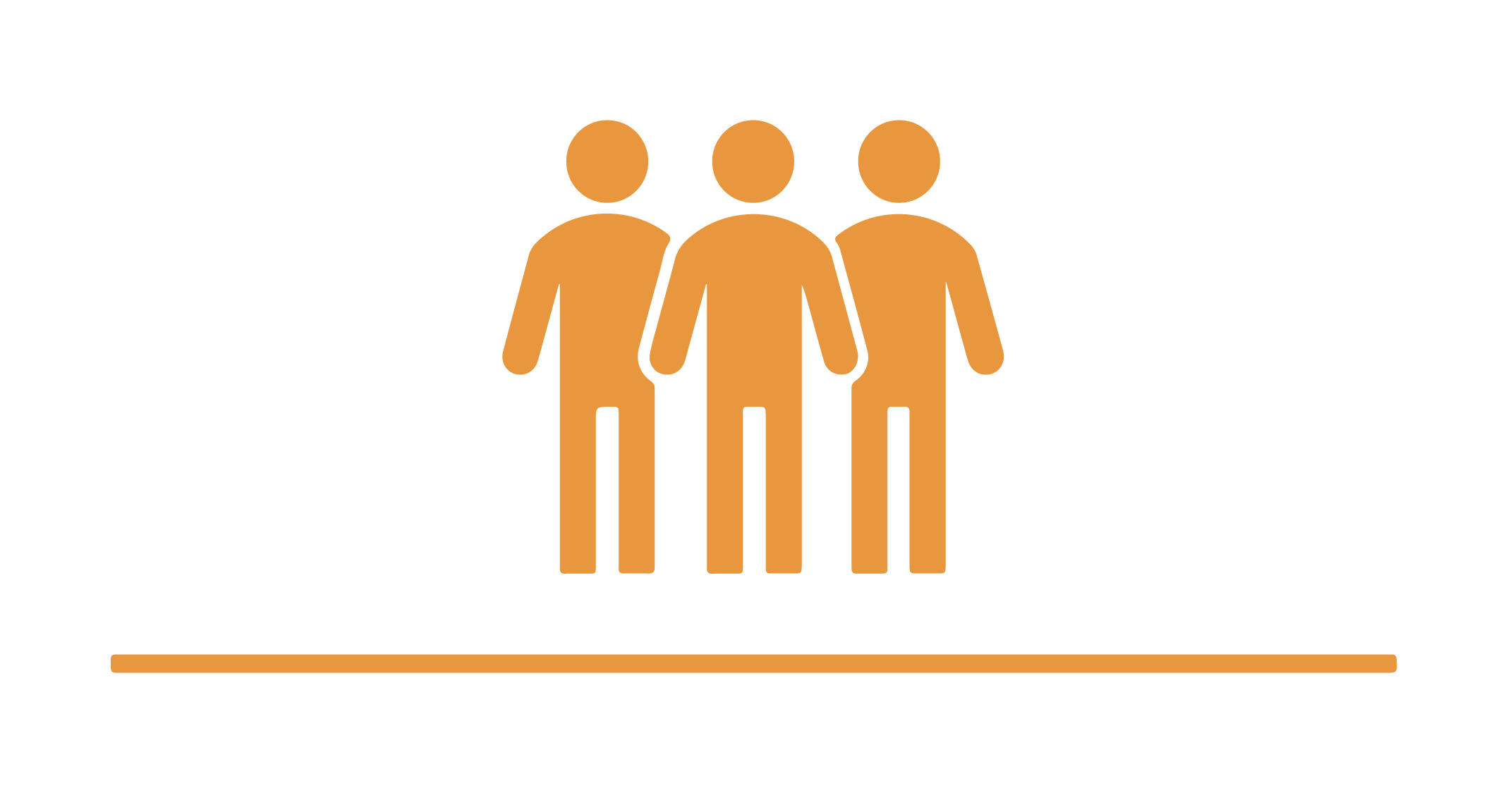 Illustration of three orange people.