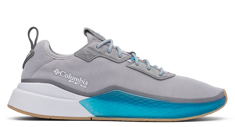 A gray Low Drag shoe with blue and white accents.