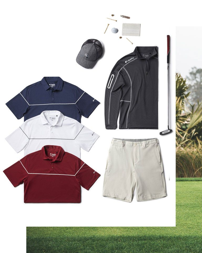 Assorted golf-friendly Columbia gear for men.