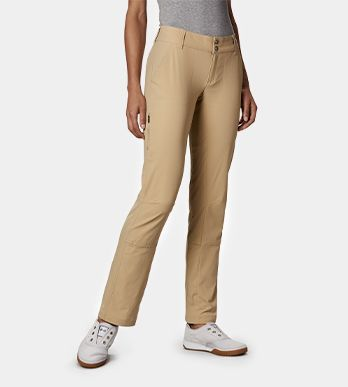 A woman in khaki pants.