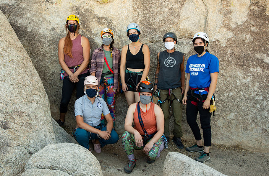 Portraits of the participants in the 2020 American Mountain Guides Association, six LGBTQIA2S+ Single Pitch Instructor Course in Joshua Tree National Park.