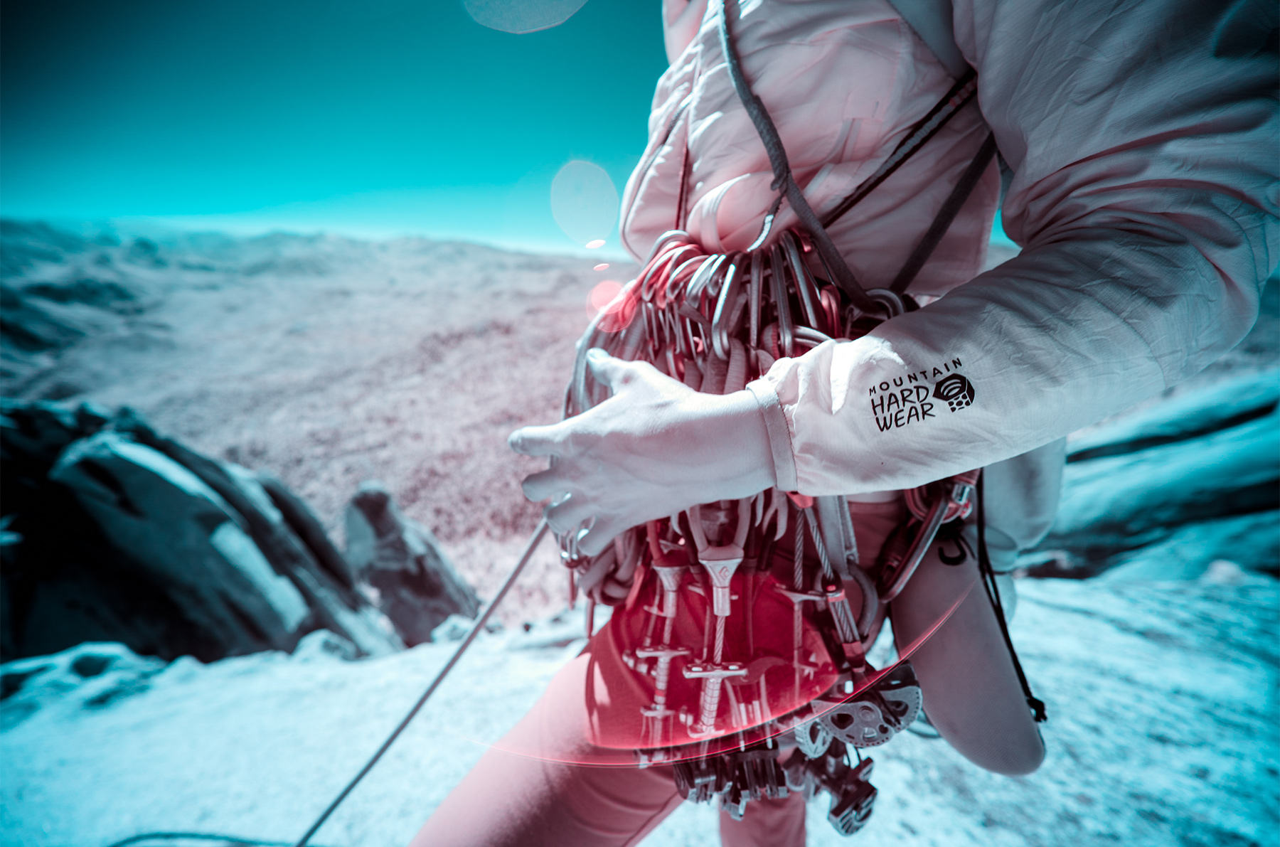 An infrared image zoomed in on Miranda Oakley's climbing rack.