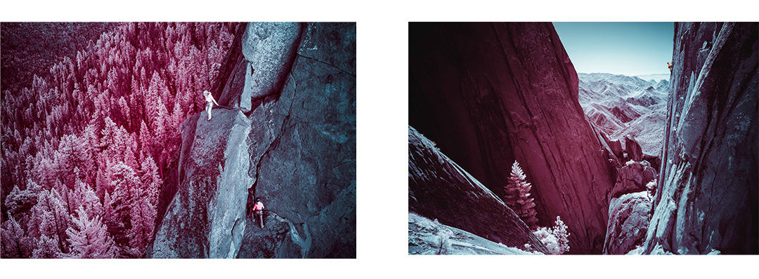 two infrared images side by side, of Miranda Oakley and climbing parter, climbing in the distance, in the Needles.
