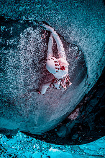 Infrared image of MHW athlete Miranda Oakley climbing in the Needles.