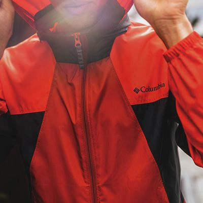 Close-up of a Columbia jacket on sale.