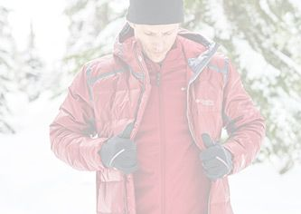 A man wearing Columbia outer layers in the snow.