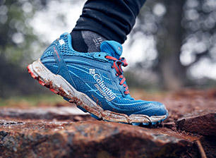 Close-up of a Columbia Montrail shoe.