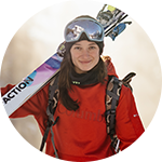 Close-up portrait of Sarah Hoefflin in Columbia ski gear.