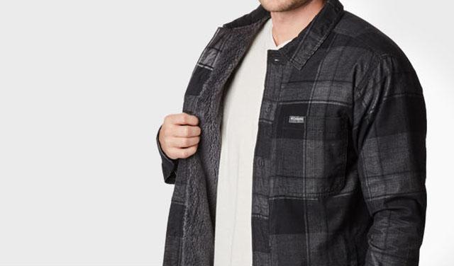 A man wearing a plaid, fleece-lined shirt-jacket.
