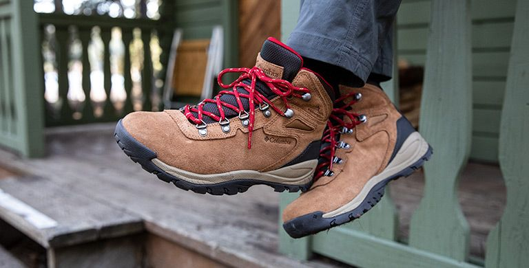 A close-up of hiking boots.