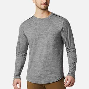 A long sleeve grey mens shirt.