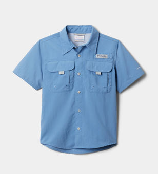 A kids short sleeve button down shirt.
