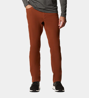 Man in orange hiking pants.