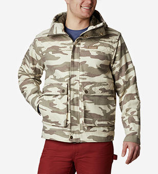 A down jacket with a camo pattern.