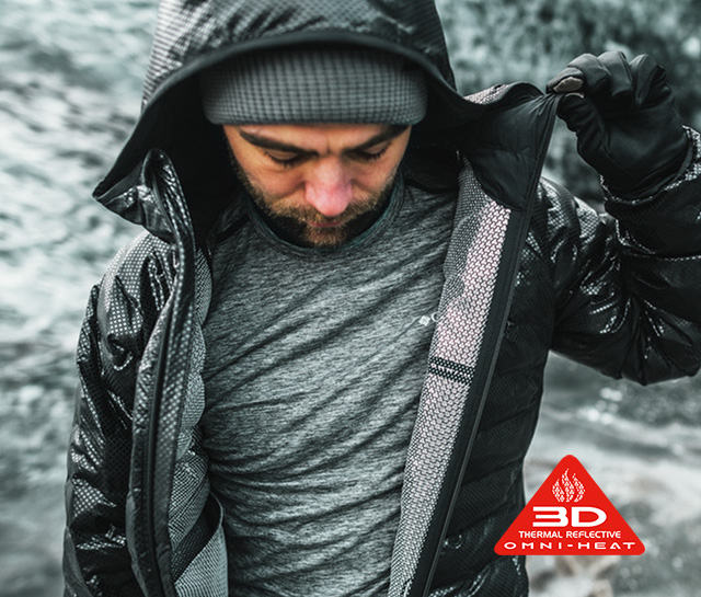 A man unzipping a jacket with Omni-Heat 3D technology.