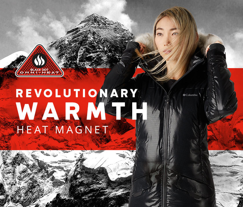 Revolutionary warmth. A woman wearing an Omni-Heat Black Dot jacket.