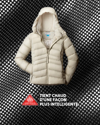 A white hooded puffy coat.