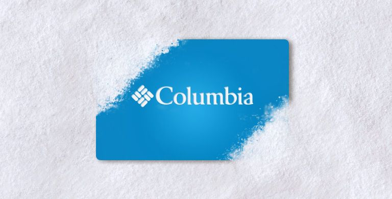Blue Columbia gift card in the snow