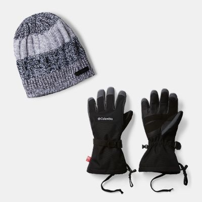 A cold-weather beanie and ski gloves.