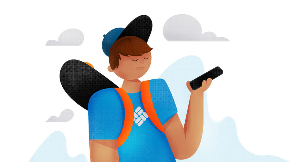 Illustration of a teen with a skateboard and smartphone.