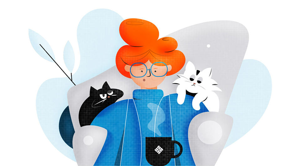 Illustration of a cat lady with coffee.
