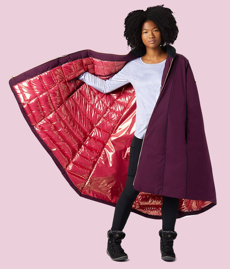 Womens cape showing the reflective lining