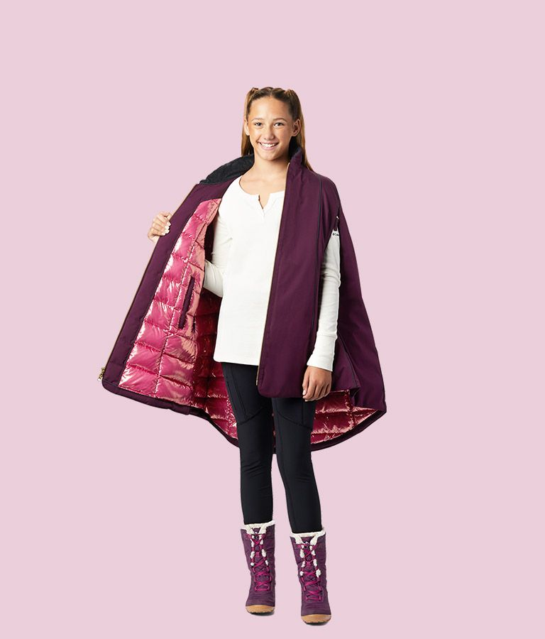 Girls cape showing the reflective lining