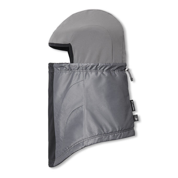 Close up profile of neck helmet gaiter.