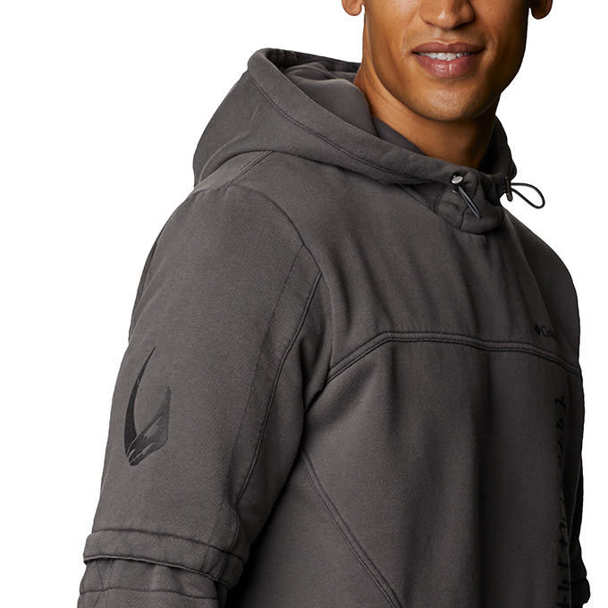Side view of man wearing the hoody.