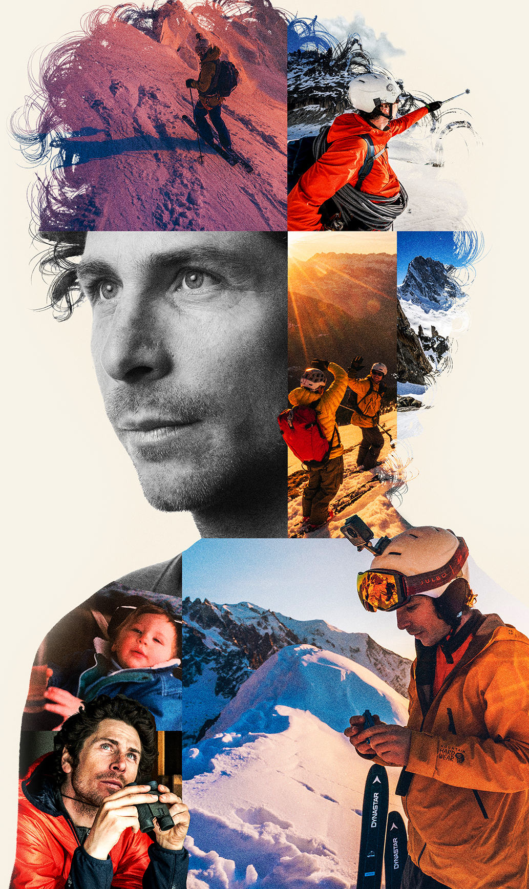 portrait of Vivian Bruchez with a compilation of images of Viv skiing.