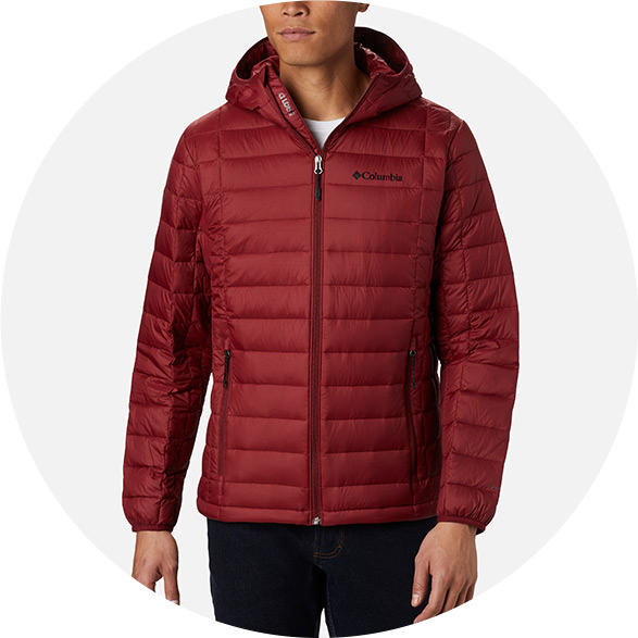 Man in a red insulated jacket.