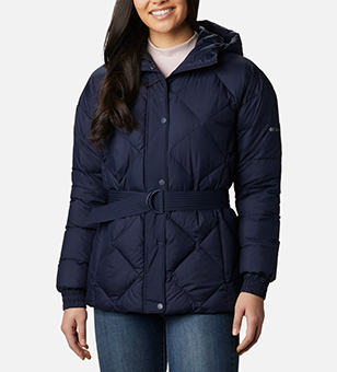 Woman in a stylish blue insulated jacket.