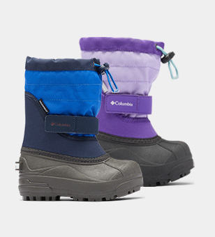 A blue and a purple toddlers boots.