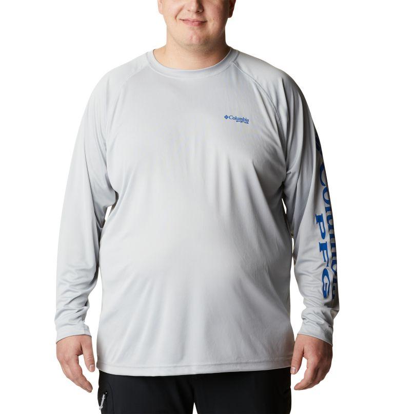Terminal Tackle™ LS Shirt | 028 | 6X Men's PFG Terminal Tackle™ Long Sleeve Shirt - Big, Cool Grey, Vivid Blue Logo, front