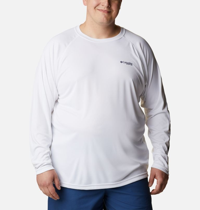 Terminal Tackle™ LS Shirt   114   1X Men's PFG Terminal Tackle™ Long Sleeve Shirt - Big, White, Nightshade Logo, front