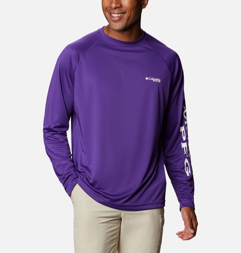 Terminal Tackle™ LS Shirt | 517 | 1X Men's PFG Terminal Tackle™ Long Sleeve Shirt - Big, Vivid Purple, White Logo, front
