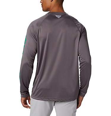 Men's PFG Terminal Tackle™ Long Sleeve Shirt - Tall Terminal Tackle™ LS Shirt | 474 | XLT, City Grey, Dark Lime Logo, back