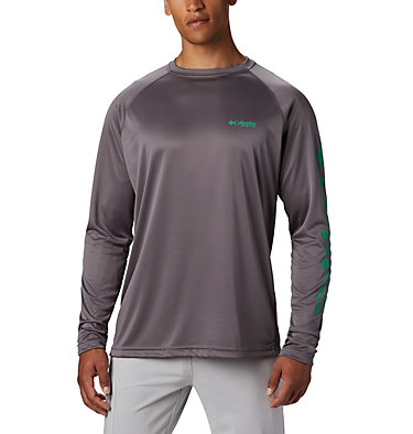 Men's PFG Terminal Tackle™ Long Sleeve Shirt - Tall Terminal Tackle™ LS Shirt | 474 | XLT, City Grey, Dark Lime Logo, front