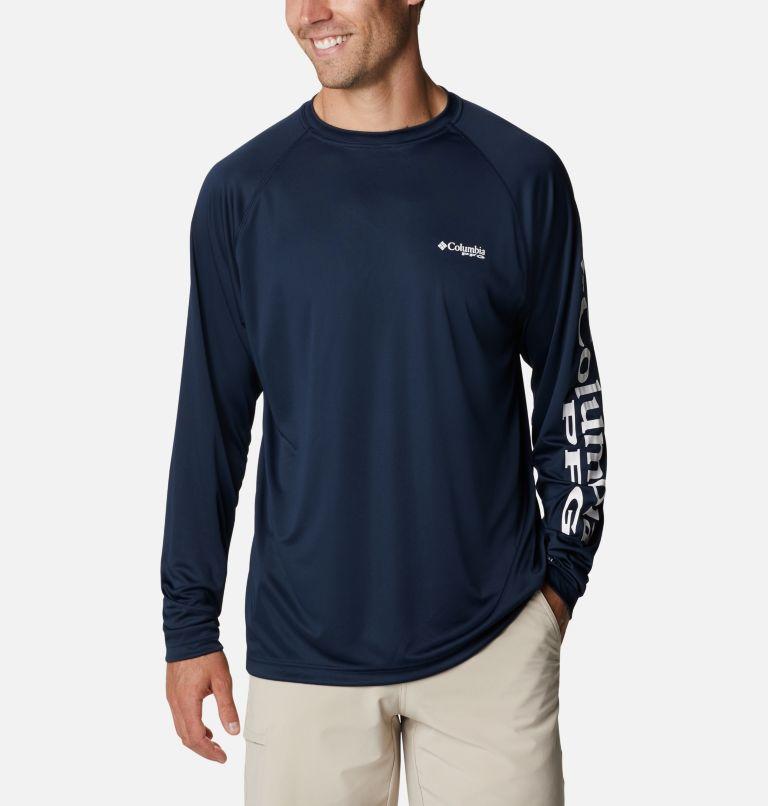 Terminal Tackle™ LS Shirt   471   4XT Men's PFG Terminal Tackle™Long Sleeve Shirt - Tall, Collegiate Navy, White Logo, front