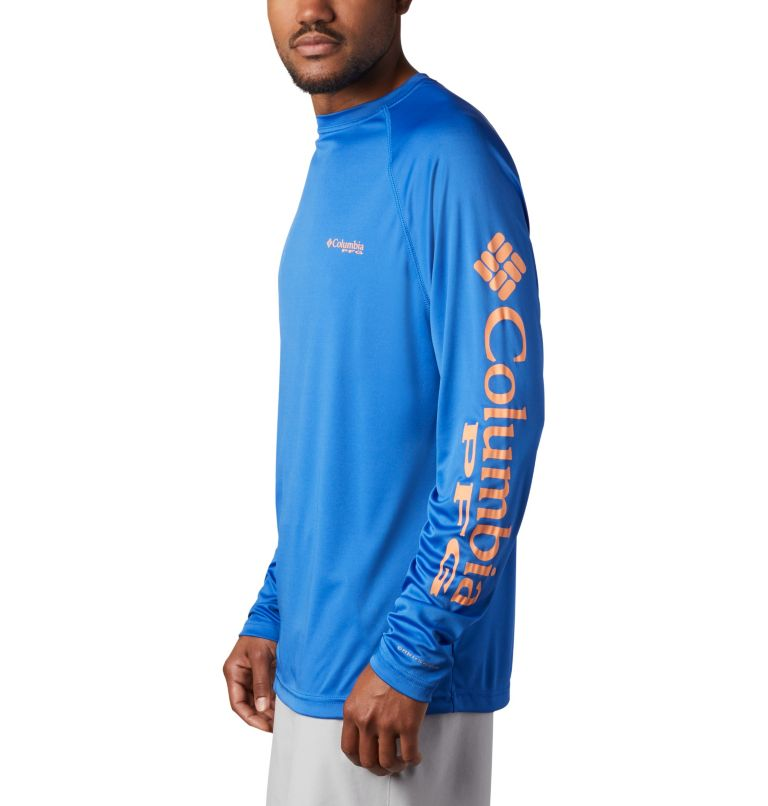 Terminal Tackle™ LS Shirt | 493 | 2XT Men's PFG Terminal Tackle™Long Sleeve Shirt - Tall, Vivid Blue, Bright Nectar Logo, a1