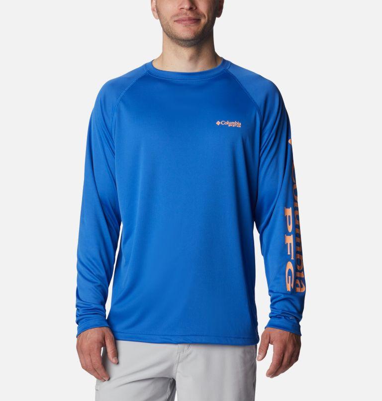 Terminal Tackle™ LS Shirt | 493 | 2XT Men's PFG Terminal Tackle™Long Sleeve Shirt - Tall, Vivid Blue, Bright Nectar Logo, front