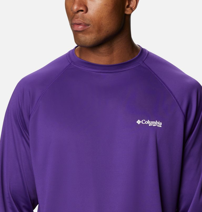Terminal Tackle™ LS Shirt | 517 | LT Men's PFG Terminal Tackle™Long Sleeve Shirt - Tall, Vivid Purple, White Logo, a2
