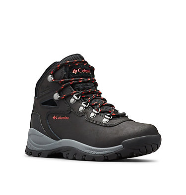 Women's Newton Ridge™ Plus Waterproof Hiking Boot - Wide NEWTON RIDGE™ PLUS WIDE | 052 | 10, Black, Poppy Red, 3/4 front