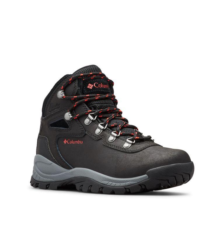 NEWTON RIDGE™ PLUS WIDE | 010 | 7.5 Women's Newton Ridge™ Plus Waterproof Hiking Boot - Wide, Black, Poppy Red, 3/4 front