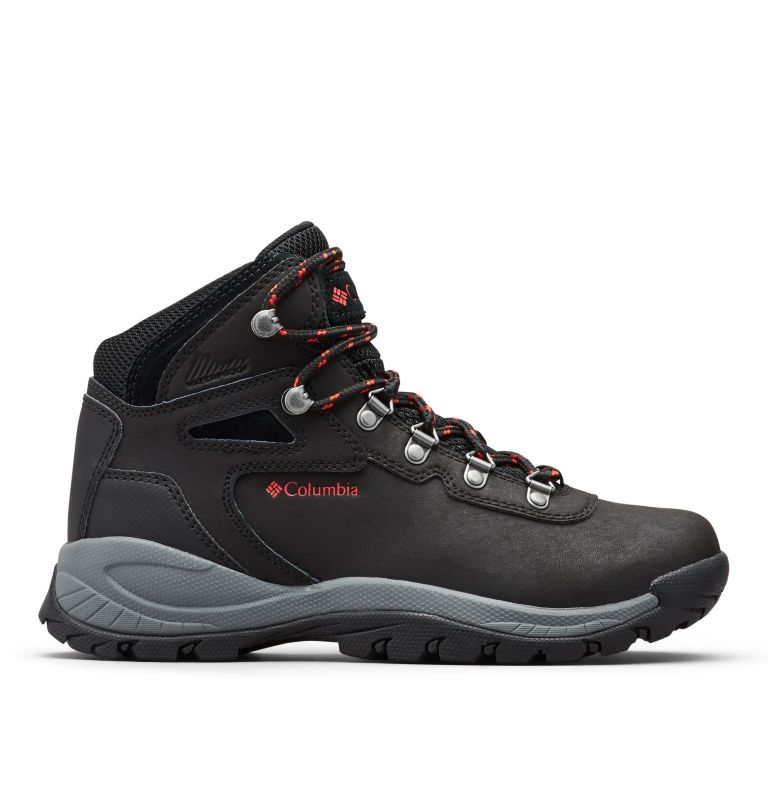 NEWTON RIDGE™ PLUS WIDE | 010 | 9 Women's Newton Ridge™ Plus Waterproof Hiking Boot - Wide, Black, Poppy Red, front
