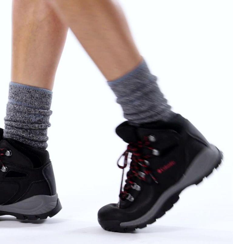 NEWTON RIDGE™ PLUS WIDE | 010 | 7.5 Women's Newton Ridge™ Plus Waterproof Hiking Boot - Wide, Black, Poppy Red, video