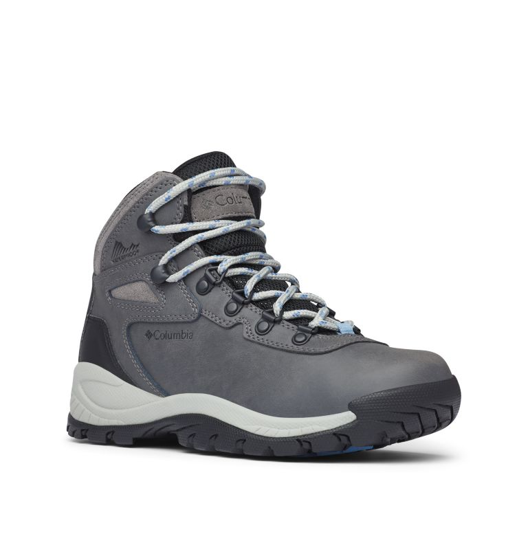 NEWTON RIDGE™ PLUS WIDE | 052 | 6 Women's Newton Ridge™ Plus Waterproof Hiking Boot - Wide, Quarry, Cool Wave, 3/4 front