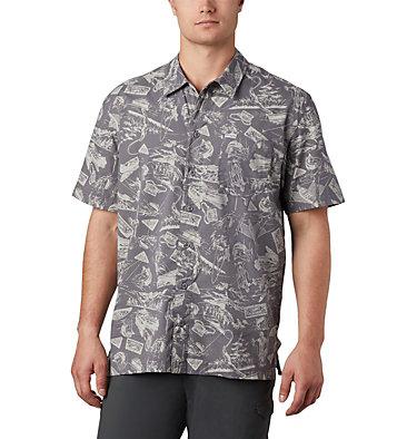 Men's PFG Trollers Best™ Short Sleeve Shirt – Big Trollers Best™ SS Shirt | 344 | 2X, City Grey Freshwater Roots Print, front
